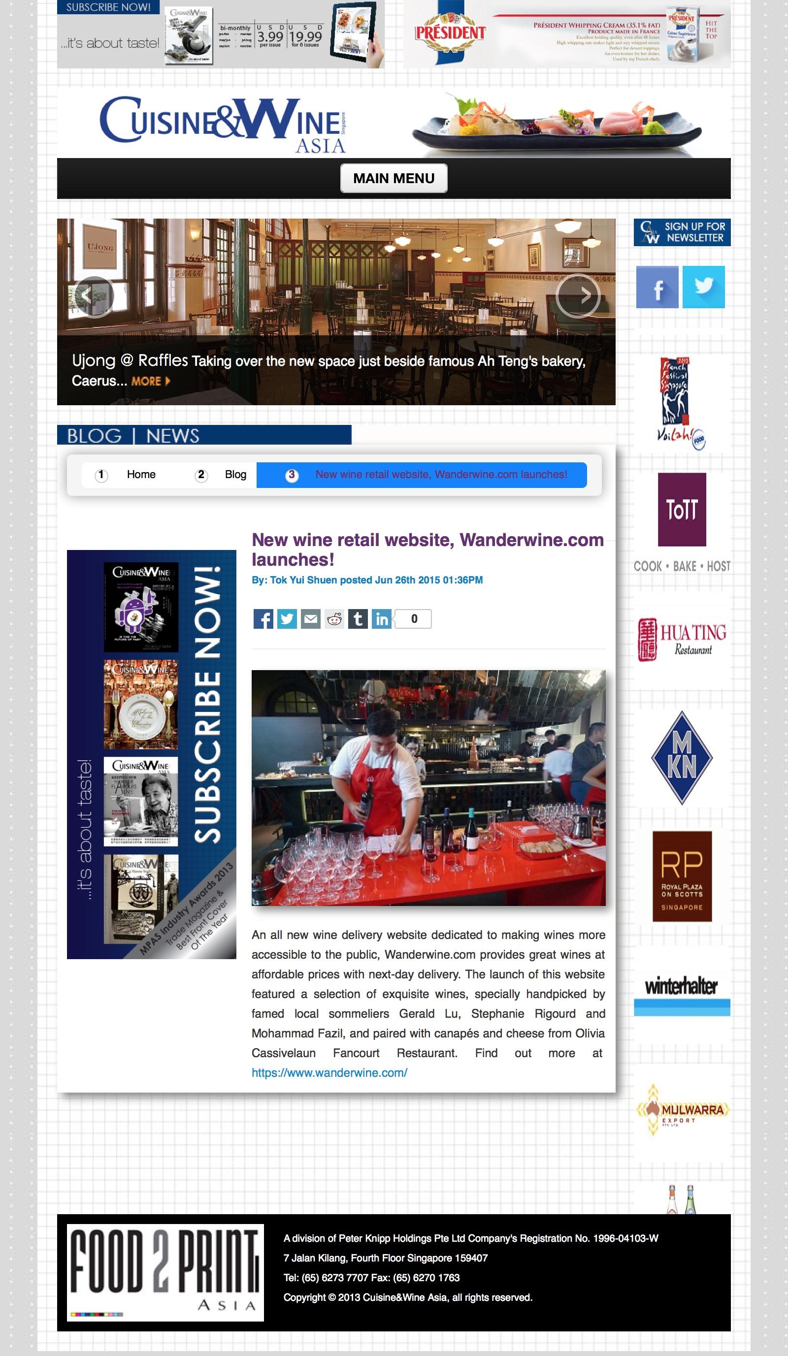 Cuisine & Wine Asia Online